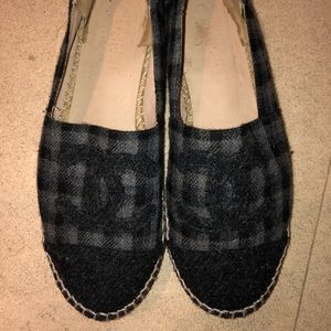 Chanel plaid espadrilles wool quilted 39 9 flats